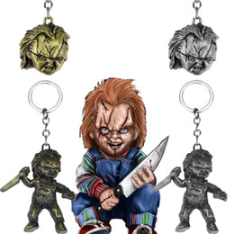3d keychains 2020 - Childs Play Keychain Classic Horror Movie Keychains 3D Chucky Cosplay Metal Pendant Keyring Charm Jewelry Christmas Gift