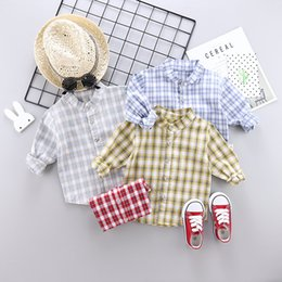 standing collar shirt style Australia - 2019 Autumn Childrenswear 0-4-Year-Old BOY'S Cotton Plaid New Style Korean-style Children Stand Collar One-piece Shirt Fashion