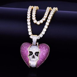 $enCountryForm.capitalKeyWord Australia - 2019 New wholesale Skull Cracked Love Pendant with Zircon Hip Hop Necklace