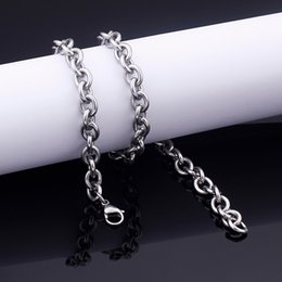 bulk stainless chain Australia - 5pcs Lot in bulk Mens Smooth Oval Rolo Chain Necklace Stainless steel jewelry 8mm 18''-32''