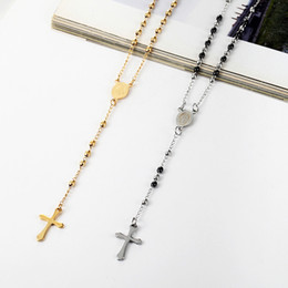 catholic jewelry necklace NZ - 3mm Oval Bead Rosary Cross Pendant Necklace Stainless Steel Jesus Center Christian Catholic Religion Jewelry