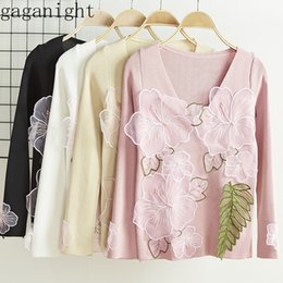 Discount sweaters women flower - Gagnight Flower Patchwork 2019 New Fashion Women Sweater Long Sleeves V Neck Elegant Pullover Female Jumper Solid Korea