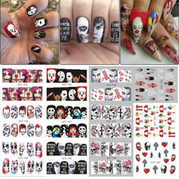 25pcs Halloween Designs Transfert d'eau autocollants Crâne Vampire Rose Nail Art Nail Art Stickers bricolage Décorations TRSTZ731-755-1