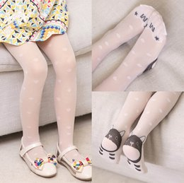 Discount silks pantyhose - Cute kat lace Girls silk stockings Summer new kids Pantyhose Girls Tights Kids Leggings White silk stockings kids design