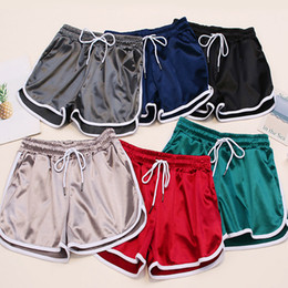 Outdoor Women joggers Shorts Summer Silk Slim Beach  Casual pants White Egde Shorts Hot shorts pants with pocket ZZA314 on Sale
