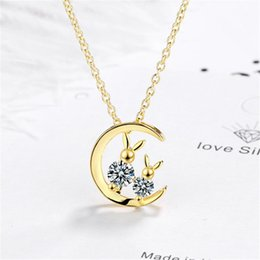 925 cat pendant online shopping - Net red female simple fresh temperament personality student wind wild moon cat sterling silver necklaces