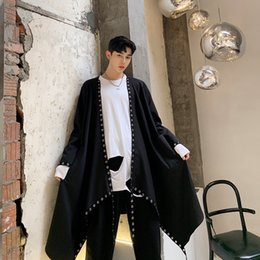 trench coat men punk 2021 - Men Loose Irregular Ribbon Rivet Long Cardigan Windbreaker Coat Male Japan Streetwear Punk Gothic Trench Jacket Outerwear