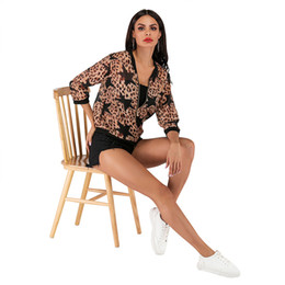 Wholesale women blouse stars for sale – plus size Leopard Stars Print Modern Rash Guards Coat Baseball Outer Wear Coat Women Blouse Shirts with Zipper Thin Gauze Shirts