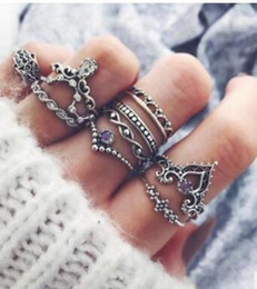 $enCountryForm.capitalKeyWord Australia - Maxi Purple Diamond Gemstone Ring Set Hollow Twist Palm Crown Finger Joint Ring Combination 10 Pieces Set
