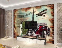 vintage car prints NZ - Custom 3D Room Photo Wallpaper Wall Mural Paris style vintage car 3D Picture Mural Modern Art Creative Living Room Hotel Study Wall Paper 3D