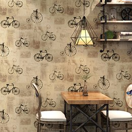 Lofts cLothing online shopping - 10m long Vintage wallpaper bicycle alphabet design pattern clothing store cafe restaurant industrial style loft PVC wallpaper