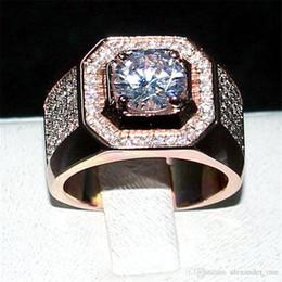 13 Rings Australia - luxury Men 925 Sterling Silver Rose Gold Rings finger jewelry Eternal 6*6mm 1.2ct Diamond Zircon Cocktail Wedding ring For Men Boys Sz 7-13