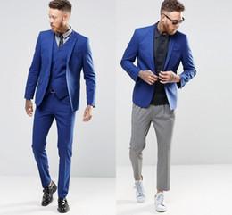$enCountryForm.capitalKeyWord NZ - Blue Color Gentle Man Tuxedo Suits Real Image Handsome Groom Suits One Button Slim Fit Wedding Suit For Men (Jacket+Pants+Vest)