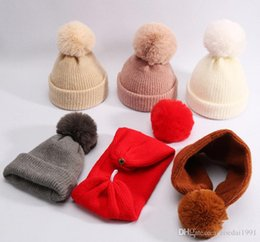 $enCountryForm.capitalKeyWord Australia - Children Winter Wool Cotton Hats Girls Real rabbit Fur Pompom Hat Kids girls Caps Beanies Skullies Baby both as hat and scarf 8 colors
