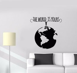 wall stickers words nursery NZ - Motivational Words Vinyl Lettering Wall Decal for Bedroom Man Planet Earth The World is Yours Art Wall Stickers Classroom