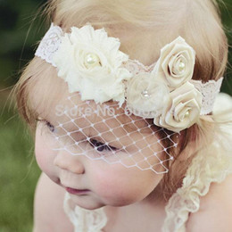 $enCountryForm.capitalKeyWord Australia - New Lace Baby Headband Birdcage Veil Shabby Chic Flower Girl Headband Vintage Christening Baptism Hair Band Photography Props