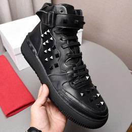 $enCountryForm.capitalKeyWord Canada - Italy Luxury Casual Shoes Genuine Leather Fashion Hook Loop man Shoes Rivet High top lace-up Round Toe Trend Casual man shoes Drop Ship
