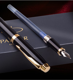 $enCountryForm.capitalKeyWord Australia - 2019 top famous luxury pens Parker im pen pure black elegant gold clip ink bag6825#