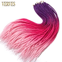$enCountryForm.capitalKeyWord Australia - VERVES box braid 24 inch Crochet braids 22 Roots pack Ombre Synthetic Braiding Hair extension Kanekalon Fiber pink,grey,brown