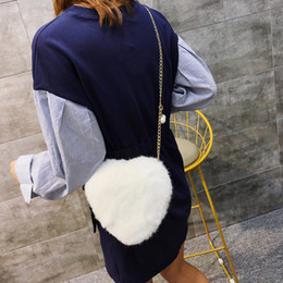 extra hair NZ - Angel2019 And Leather Fur Woman Heart-shaped Chain Rabbit's Hair Bag Buckle Single Shoulder Span Package