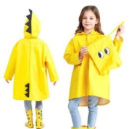 Discount girl poncho kids - Portable Boys Girls Windproof Waterproof Wearable Poncho Kids Cute Dinosaur Shaped Hooded Children Yellow Red Raincoats