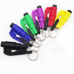seatbelt cutter emergency UK - Mini 3 in 1 Seatbelt Cutter Emergency Hammer Glass Breaker Key Chain Smart AUTO rescue hand tool Safety Escape Lift Save with Whistle V37