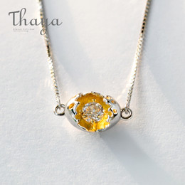 $enCountryForm.capitalKeyWord Australia - Thaya Gold Cocoon-break Pendant Necklaces 925 Silver Pure Zircon Diamond Box Chain Link Necklace Women Elegant Jewelry '39+4cm' J 190430