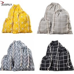 Wholesale 4 Color New Women Reusable Shopping Bag Unisex Foldable Cotton Plaid Drawstring Grocery Shopping Bags Hot Sale Case Pouch