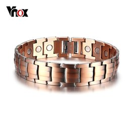 copper bracelets men Australia - Vnox Red Copper Magnetic Bracelet for Men Magnets Bio Elements Energy Bracelets Bangles Father's Day Gift