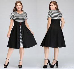 Wholesale vintage cotton stockings for sale - Group buy In Stock MisShow Vestidos Women Summer Fake two Pieces Striped Vintage Dress Swing Rockabilly Patchwork Cotton plus size Dresses FS1394