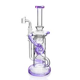 $enCountryForm.capitalKeyWord Australia - 11.3 Inchs Tall Bong Klein Recycler Oil Rigs Purple Bongs Water Pipes Bubbler Chicha Unqiue Hookahs With 14mm Banger Shisha
