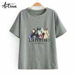 $enCountryForm.capitalKeyWord Australia - Artsnie Cartoon Print Streetwear Dark Gray Women T Shirt Summer 2019 O Neck Short Sleeve Knitted Tops Female Tee Funny T-shirts J190614