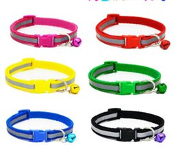 pet bells Canada - Reflective Dog Collar With Bell Pet Nylon Necklace Creative Fluorescent Small Dog Collars Safety Cat Puppy Teddy Necklaces