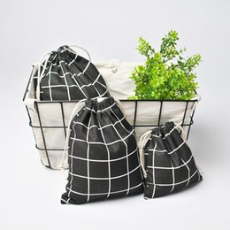 $enCountryForm.capitalKeyWord NZ - New Fashion Drawstring Cotton Grocery Shopping Bags Folding Lattice Shopping Cart Grab Reusable Bag Feeding Bottle
