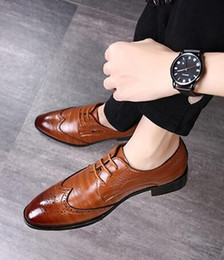$enCountryForm.capitalKeyWord NZ - New Shoes Modern Gentlemen Genuine Leather Lace Up Brogue Shoes Party Wedding Suit Formal Footwear Mens Dress Shoe SIZE: EU39-44