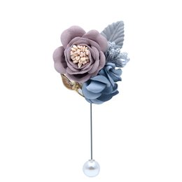 Bridal Brooch Flower UK - Wedding Bridal Bridegroom Flower Brooch Corsage Flower Lapel Pin Bridesmaid Brooch Handmade Pin Fashion Wedding Boutonniere