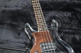 Livraison gratuite main gauche main gauche 4 cordes corps acrylique corps guitare électrique basse guitare cristal en Solde