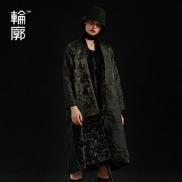 Wholesale Outline Spring Women Long Black Embroidery Open Stitch V Neck Trench Coat Offical Lady Spliced Fashion Dobby Coat L183Y029