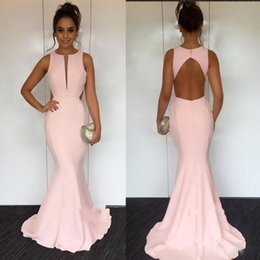 $enCountryForm.capitalKeyWord Australia - Light Pink Jewel Mermaid Sexy Open Back African Evening Dresses Beautiful Cocktail Pageant Gowns Cheap Custom Made Evening Gowns