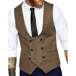 brown herringbone suit Australia - Mens Slim Business Brown Waistcoat Champagne Wool Herringbone Tweed Suit Vests Custom Made Business Formal Vest For Wedding 2020