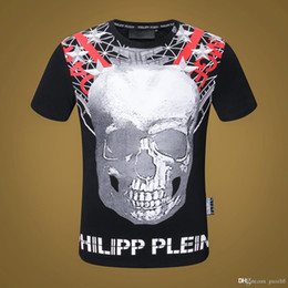 fashions t shirts collar designs 2020 - 18SS summer man fashion luxury diamond design Tshirt skull pattern men funny t shirts brand Modal round collar tops tees