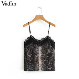 486d72d5331b1f Vadim Women Sexy Snake Skin Tops Camis Chic Blouse V Neck Lace Patchwork  Sleeveless Backless Shirts Vest Blusas Mujer Wa143 C19040301