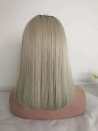 Gray ombre human hair wiG online shopping - 1B Gray Ombre Human Hair Short Bob Wigs Pre Plucked Malaysian Straight Full Lace Wig For Black Women Colored Silver Grey Lace Front Bob Wig
