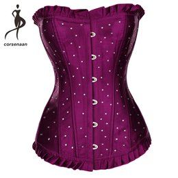 $enCountryForm.capitalKeyWord UK - Plus Size Gothic Satin Corselet Sequin & Rhinestone Dance Wear Costumes Lace Up Boned Corsets Body Shapewear Top For Party