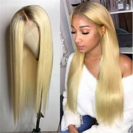 Silky Straight Ombre Wig Australia - Ombre 1b 613# Color Brazilian Human Hair Full Lace Wig Silky Straight Two Tone Lace Front Wig Glueless Wigs 130% density