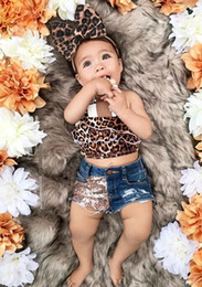 girls leopard print tops Canada - Ins Girls Clothes 3pcs Suit Leopard Printed Sleeveless Tops Sequined Short Pants Butterfly Bow Baby Children Girls Clothing Set