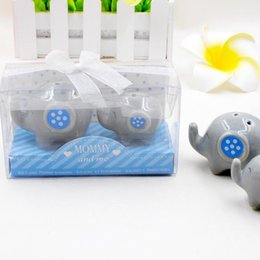 $enCountryForm.capitalKeyWord Australia - 1 set=2pcs Little Elephant Ceramic Party Favors Wedding Gift Baby Shower Toys Salt and Pepper Shaker Mommy And Me LX7716