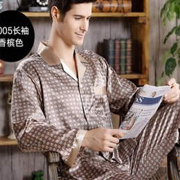 silk nightgown men Australia - Spring Mens Stain Silk Pajama Set Pajamas Men Sleepwear Modern Style Silk Nightgown Home Male Satin Soft Cozy For Sleeping LY191115