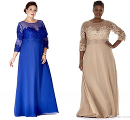 sheer shirts for cheap Australia - 2020 Cheap Chiffon Plus Size Dresses Sheer Neck Long Sleeve Mother Party Prom Dress Evening Gown For Special Occasion With Lace Appliques
