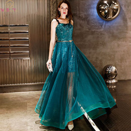 $enCountryForm.capitalKeyWord Australia - Turquoise Green Prom Dresses Hi-lo Sequined Dot Tulle Spaghetti Straps Lace Appliques A-line Long Sparkly Party Evening